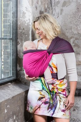 Baby Sling Dark Grey/Fuchsia Double